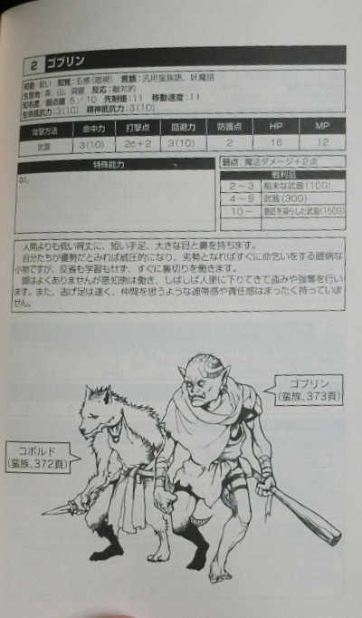 Goblin stat block with a goblin and kobold pictured below.