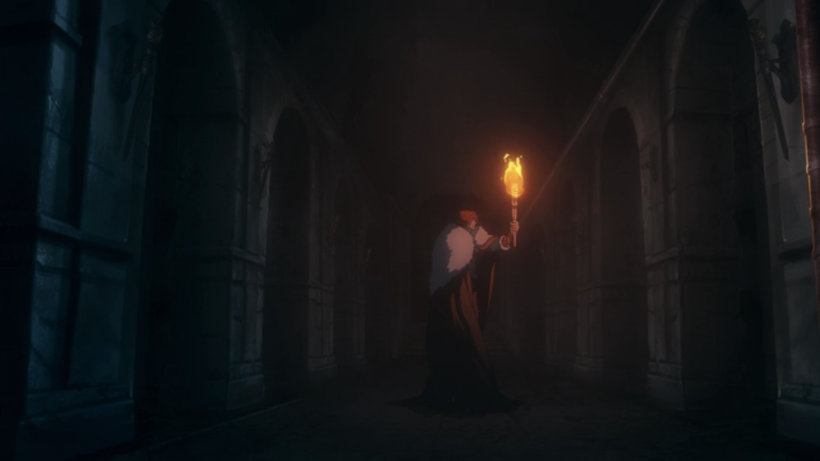 Trevor Belmont holding a torch in a hallway