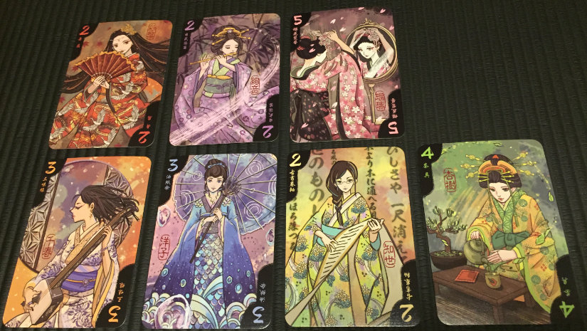 The seven geisha cards - my wife commented that their names on the cards seemed kind of modern