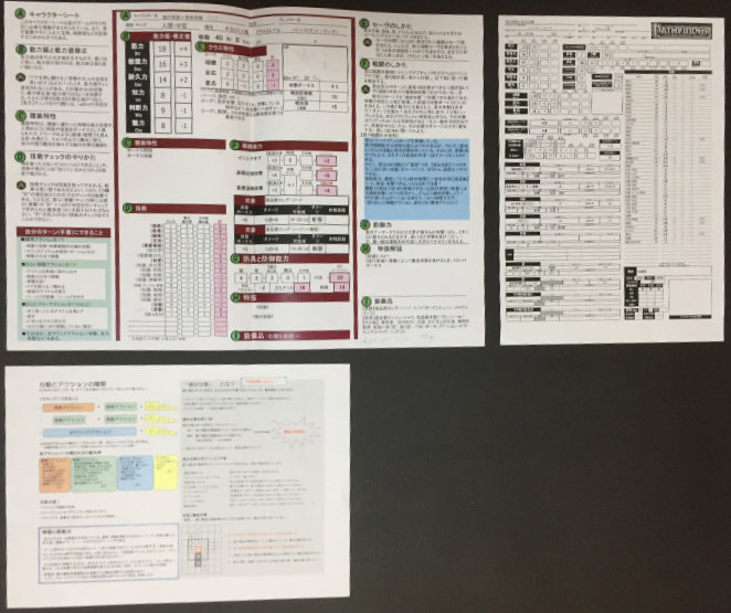 Annotated character sheet top left, regular character sheet top right, and rules summary bottom left.