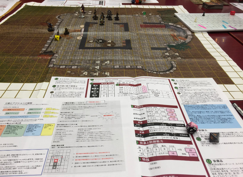 Field map with character sheets in foreground