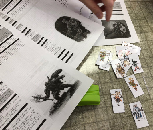 Custom pre-gen character sheet and paper miniatures