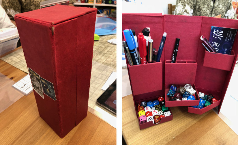 Folding box - open and closed