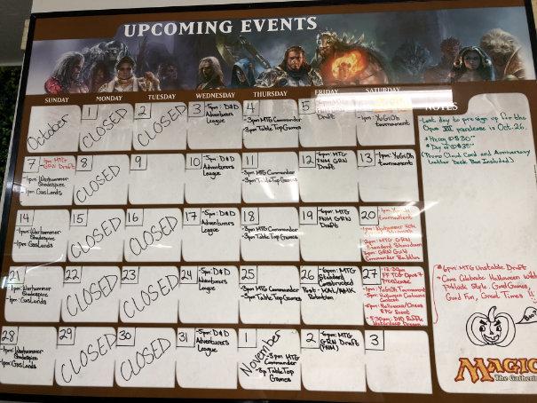 Store event calendar