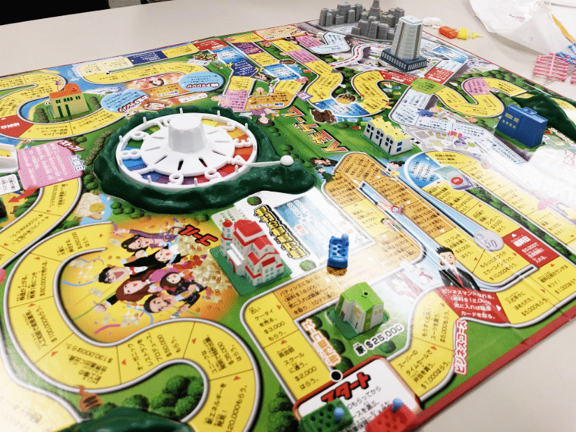 View of the game board. The start location is at the bottom with red letters.