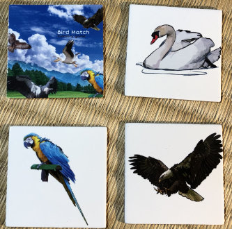 Sample cards from the bird set