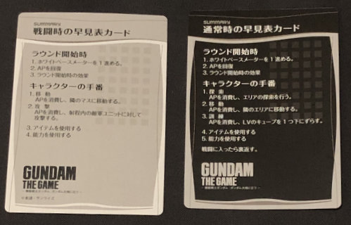Reference cards are double-sided. The black side is normal gameplay and the grey side combat.
