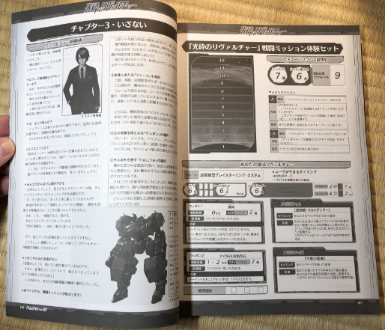 Scenario text on the left page and reference sheets on the right.