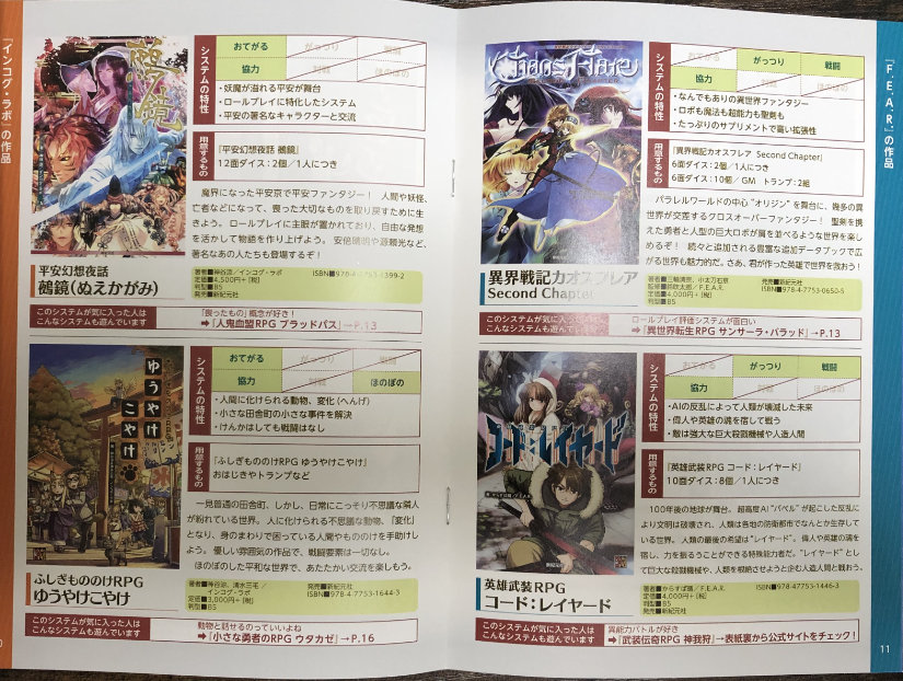 Two pages introducing four games: Nuekagami, Golden Sky Stories, Chaos Flare, and Code: Layered.
